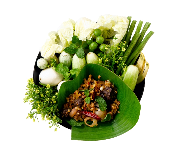 """Minced pork mix with spicy herb call """"Laab"""" a popular of Thai food"""